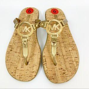 New Michael Kors Gold Sandals - 6